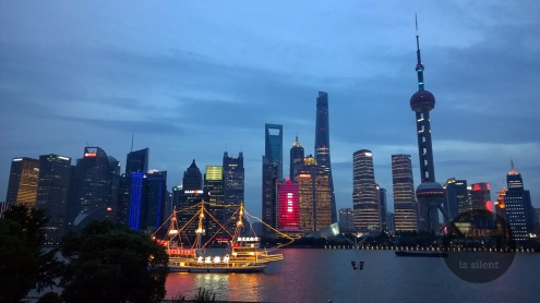 View of the Shanghai skyline from the Rainbow Bridge